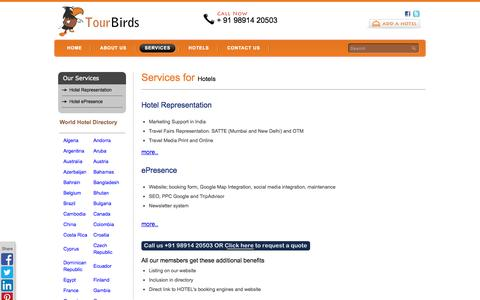 Screenshot of Services Page tourbirds.com - Services - Hotel Representation, Hotel Websites, Hotel SEO, World Hotel Directory - captured Oct. 7, 2014