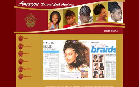 Screenshot of Press Page amazonsaloninc.com - Amazon Natural Hair academy, Braids, Twists, Cornrolls, Wieves, Locs - captured Oct. 4, 2014