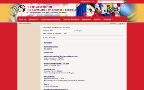 Screenshot of Press Page tri-association.org - Tri Association: Search Results - captured Jan. 28, 2018