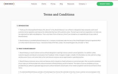 Screenshot of Terms Page brandembassy.com - Terms and Conditions |  Brand Embassy - captured July 3, 2016
