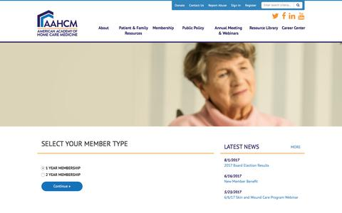 Screenshot of Signup Page site-ym.com - American Academy of Home Care Medicine - captured Oct. 8, 2017