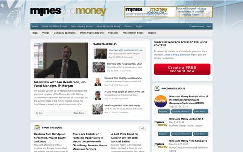 Screenshot of Home Page minesandmoney.com - Mines and Money - The leading event for the global mining and investment sectors  : Mines and Money - captured Oct. 9, 2014