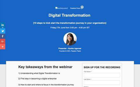 Screenshot of Landing Page leadsquared.com - [Free Webinar] 10 steps to kick start the digital transformation journey - captured Aug. 30, 2016