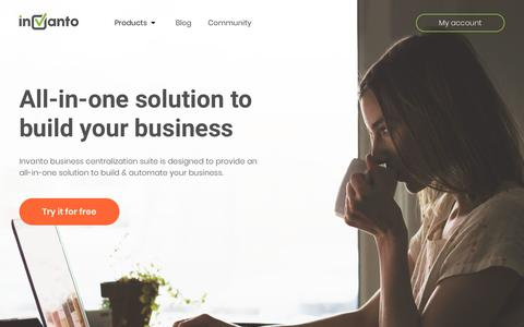 Screenshot of Home Page invanto.com - Invanto: All-in-one solution to build your business! - captured Sept. 3, 2018