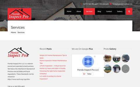 Screenshot of Services Page floridainspectpro.com - Services | Florida Inspect Pro - captured Oct. 10, 2018