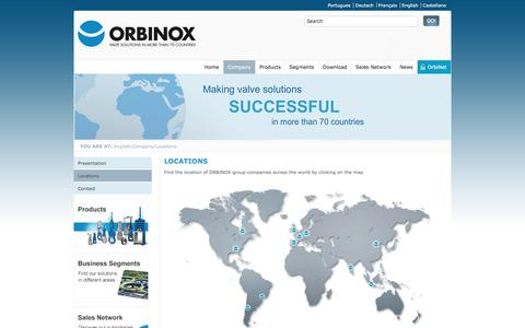 Screenshot of Locations Page orbinox.com - Locations - captured Nov. 20, 2016