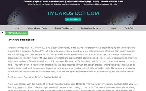 Screenshot of Testimonials Page tmcards.com - TMCARDS DOT COM - Testimonials - captured Nov. 17, 2016