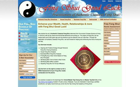 Screenshot of Home Page fengshuigoodluck.com - Practitioners of Authentic Classical Feng Shui - Feng Shui Good Luck! - captured Sept. 30, 2014