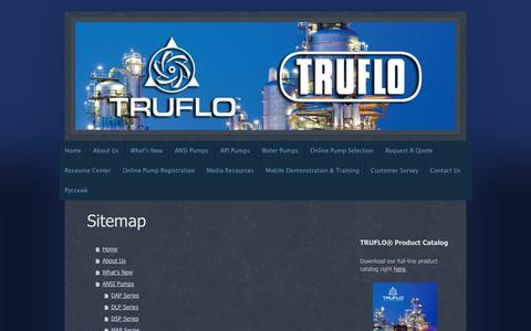 Screenshot of Site Map Page truflo.com - Home - TRUFLO Pumps, Inc. - captured Oct. 9, 2014
