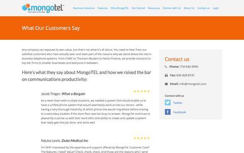 Screenshot of Testimonials Page mongotel.com - MongoTEL - captured Jan. 11, 2016