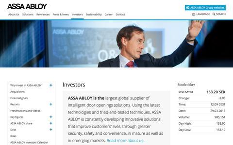 Screenshot of assaabloy.com - ASSA ABLOY Group Investor Relations - captured March 29, 2016