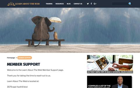 Screenshot of Support Page learnabouttheweb.com - Member Support – Learn About The Web - captured July 17, 2018