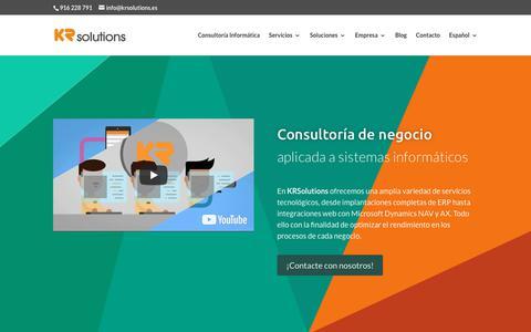 Screenshot of Home Page krsolutions.com - KRSolutions | Consultoría de negocio para sistemas informáticos - captured Sept. 20, 2018