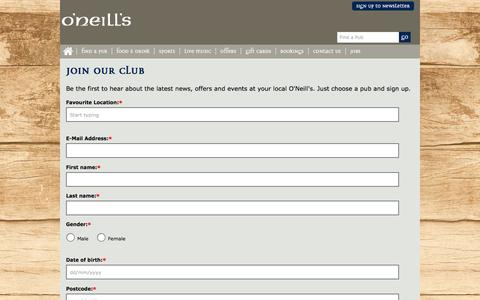 Screenshot of Signup Page oneills.co.uk - Signup - captured Feb. 7, 2016