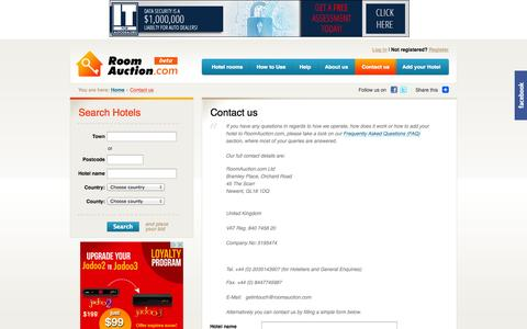 Screenshot of Contact Page roomauction.com - Contact us - captured Oct. 7, 2014