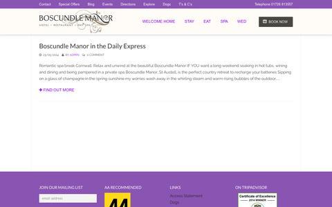 Screenshot of Blog boscundlemanor.co.uk - Blog - Boscundle ManorBoscundle Manor - captured Sept. 30, 2014