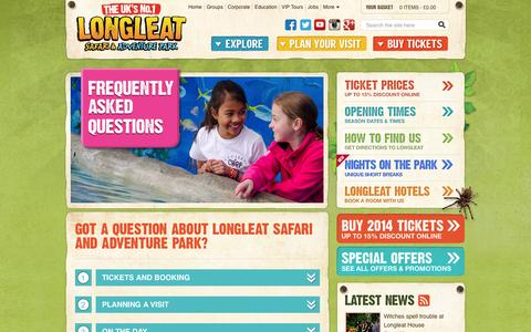 Screenshot of FAQ Page longleat.co.uk - FAQs - Frequently Asked Questions for Longleat Safari & Adventure Park - Longleat Safari Park & Adventure Park - captured Oct. 27, 2014