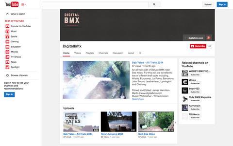 Screenshot of YouTube Page youtube.com - Digitalbmx  - YouTube - captured Oct. 23, 2014