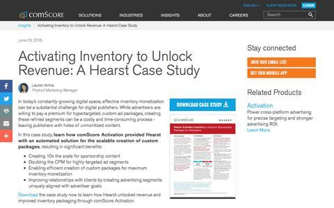 Screenshot of Case Studies Page comscore.com - Activating Inventory to Unlock Revenue: A Hearst Case Study - comScore, Inc - captured Sept. 25, 2017