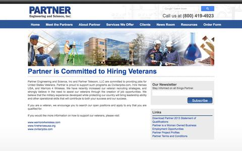 Screenshot of partneresi.com - Partner is Committed to Hiring Veterans - captured March 20, 2016
