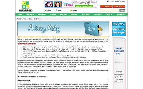 Screenshot of Privacy Page cyberastro.com - Privacy Policy- cyberastro.com - captured Sept. 23, 2014