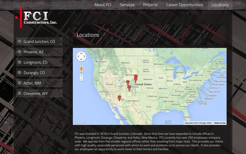 Screenshot of Locations Page fciol.com - Locations | FCI Constructors Inc. General Construction Contractors - captured Oct. 5, 2014