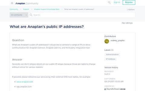 Screenshot of Support Page anaplan.com - What are Anaplan's public IP addresses? - Anaplan Community - captured Aug. 16, 2017