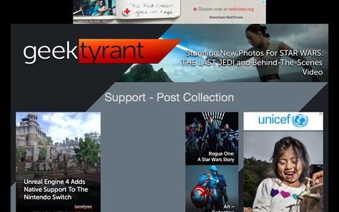 Screenshot of Support Page geektyrant.com - GeekTyrant – Geek Movie and Entertainment News - captured May 25, 2017