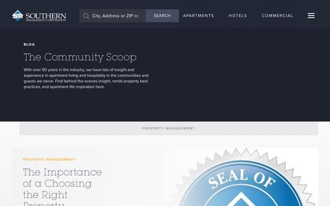Screenshot of Blog southernmanagement.com - Blog | The Community Scoop | Southern Management - captured Sept. 23, 2018