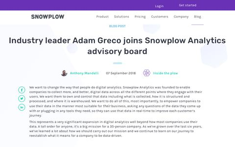 Screenshot of Blog snowplowanalytics.com - Industry leader Adam Greco joins Snowplow Analytics advisory board - captured Feb. 10, 2020