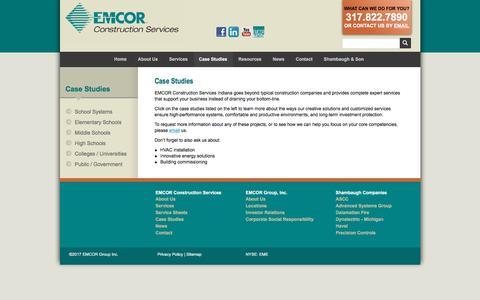 Screenshot of Case Studies Page emcorcs.com - EMCOR Construction Services :: Case Studies - captured March 2, 2017
