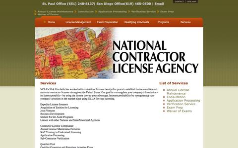 Screenshot of Services Page nationalcontractorlicenseagency.com - National Contractor License Agency - captured Oct. 27, 2014