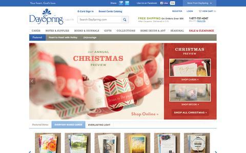 Screenshot of Home Page dayspring.com - Christian Cards, Inspirational Gifts, Home Decor, and More!   DaySpring - captured Sept. 22, 2014