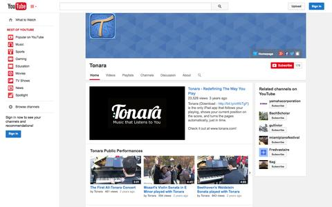 Screenshot of YouTube Page youtube.com - Tonara  - YouTube - captured Oct. 22, 2014