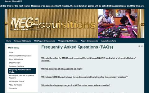 Screenshot of FAQ Page megacquisitions.com - MEGAcquisitions - Frequently Asked Questions (FAQs) - captured June 25, 2016