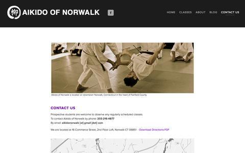 Screenshot of Contact Page aikidonorwalk.com - Contact Aikido of Norwalk, 16 Commerce St. Norwalk, CT — Aikido of Norwalk - captured Oct. 4, 2014