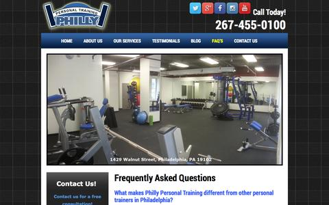 Screenshot of FAQ Page phillypersonaltraining.com - Frequently Asked Questions - Philly Personal Training - captured Sept. 29, 2014