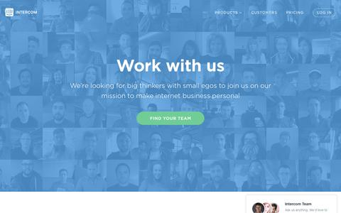 Screenshot of Jobs Page intercom.io - Careers | Intercom - captured Oct. 21, 2015