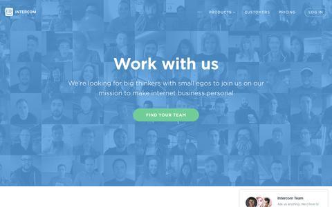 Screenshot of Jobs Page intercom.io - Careers | Intercom - captured Oct. 21, 2015