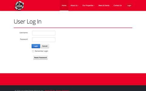Screenshot of Login Page locusrealestateadvisors.com - User Log In - captured July 15, 2016