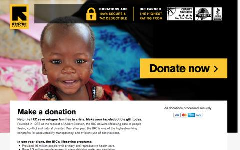 Screenshot of Landing Page rescue.org - Make a donation | International Rescue Committee - captured Nov. 27, 2016