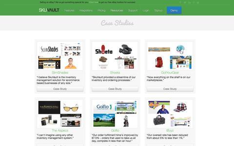 Screenshot of Case Studies Page skuvault.com - SkuVault Warehouse Management System · Case Studies - captured Oct. 31, 2016