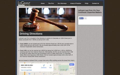 Screenshot of Maps & Directions Page legrantlaw.com - LeGrant Law Firm - Driving Directions - captured Oct. 2, 2014