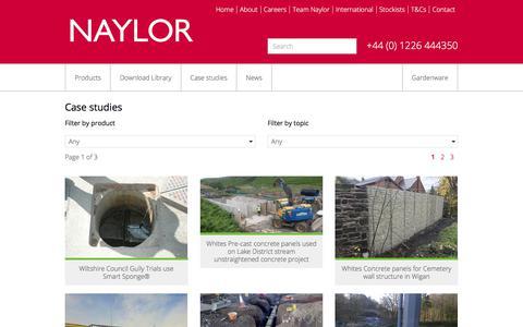 Screenshot of Case Studies Page naylor.co.uk - Case Studies - Naylor - captured Oct. 24, 2017