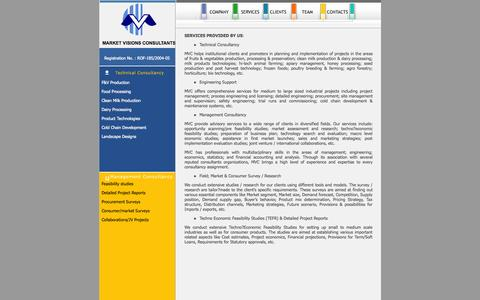 Screenshot of Services Page mvcbiz.com - Market Visions Consultants is a technical and management consultancy  agency from India. It provides turnkey project and business management services  for Dairy, Food Processing, and Agro Industries, Social forestry, Garden Design  ; Landscape develo - captured Oct. 27, 2014