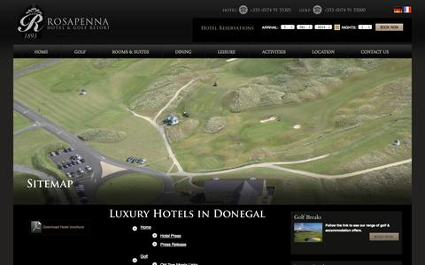 Screenshot of Site Map Page rosapenna.ie - Hotel in Donegal, Donegal Luxury Hotels, Donegal Hotels, Luxury Hotels in Donegal, Luxury Golf Resort Donegal - captured Oct. 7, 2014