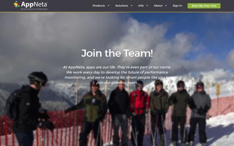 Screenshot of Jobs Page appneta.com - Career Opportunities and Development - captured Oct. 1, 2015