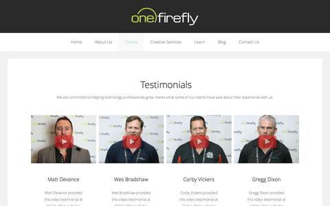 Screenshot of Testimonials Page onefirefly.com - Testimonials - captured Dec. 28, 2016