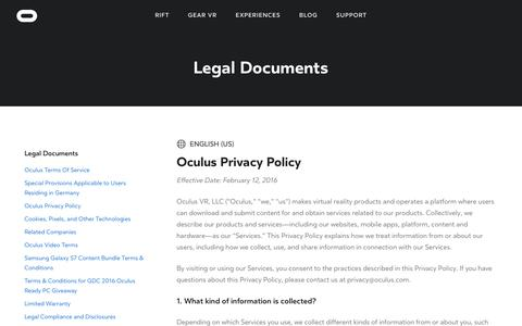 Screenshot of Privacy Page oculus.com - Oculus Privacy Policy - captured April 14, 2016