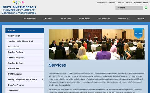 Screenshot of Services Page northmyrtlebeachchamber.com - North Myrtle Beach Chamber of Commerce Convention and Visitors Bureau - Services - captured Oct. 22, 2017